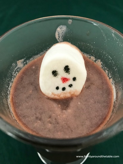 Snowman marshmallows make hot chocolate special.