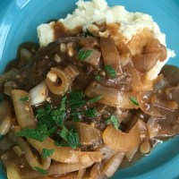 Hamburger Steak with Brown Gravy and Onions