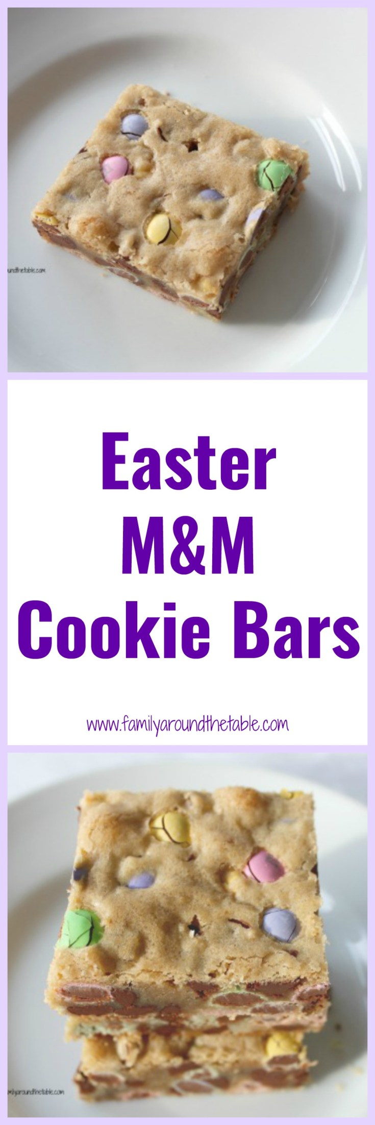 Make a batch of Easter M&M cookie bars for your celebration. Serve on the dessert buffet table or use as the base for an ice cream sundae.