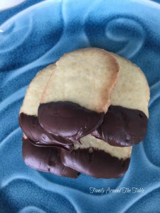Chocolate dipped orange cookies