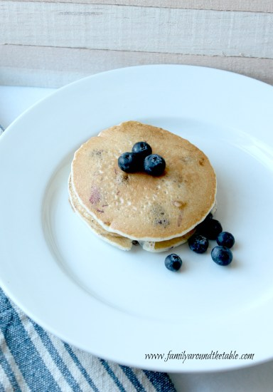 Blueberry pancakes are a yummy weekend breakfast.