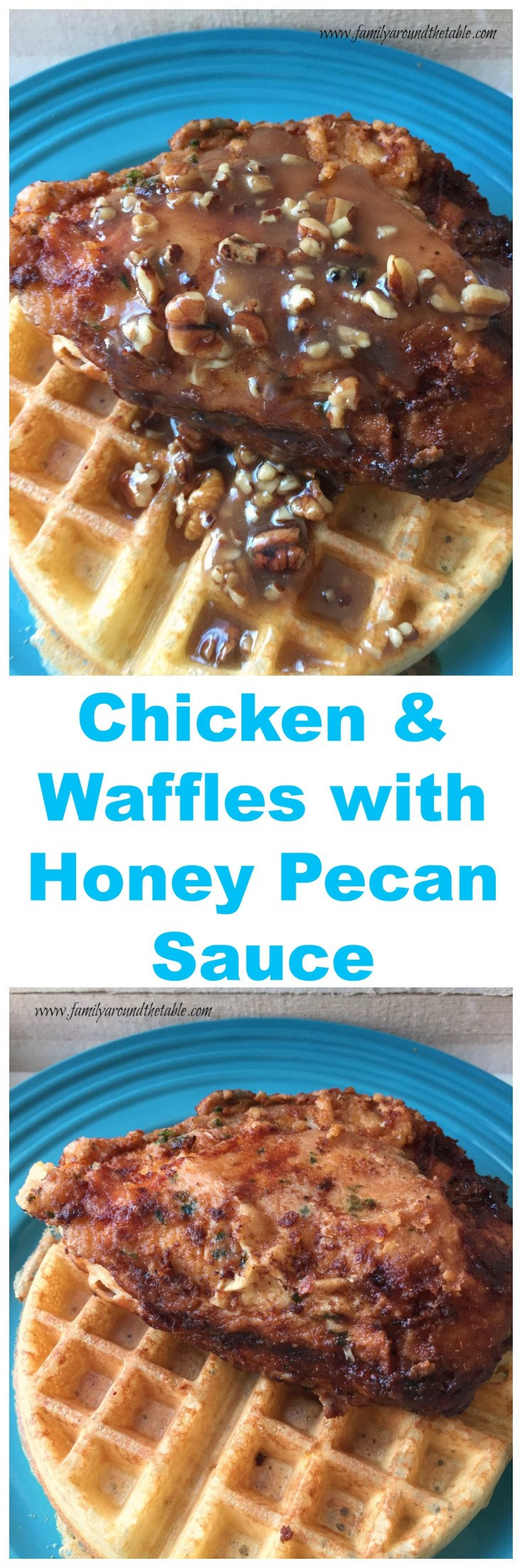 Chicken and Waffles are the perfect combination of breakfast and dinner. The honey pecan sauce puts this dish over the top!