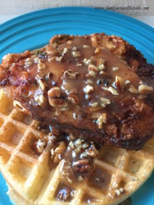 Chicken & Waffles with Honey Pecan Sauce