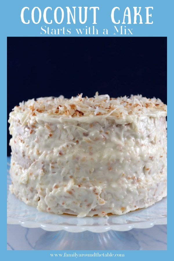 Pinterest image for coconut cake.