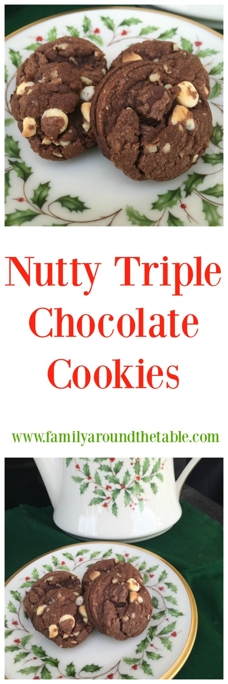Put these nutty triple chocolate cookies on your holiday cookie tray.