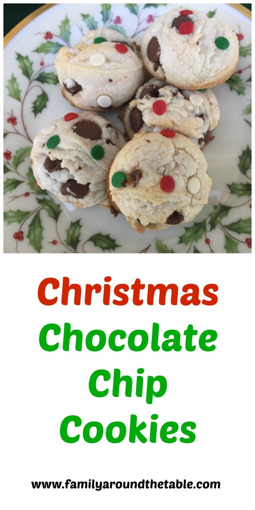 Christmas chocolate chip cookies look festive on a holiday cookie tray.