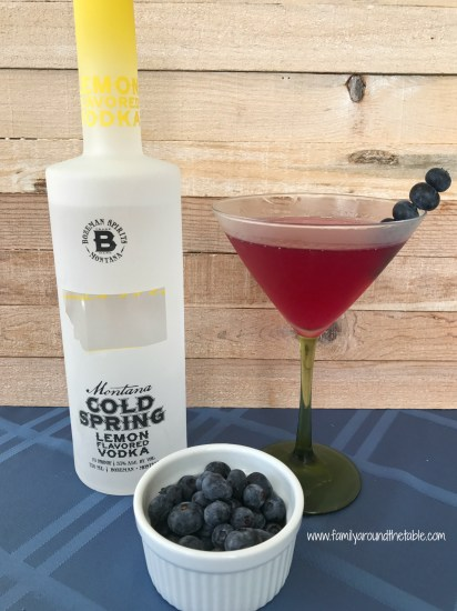 Martini made with Cold Spring lemon vodka and fresh blueberries