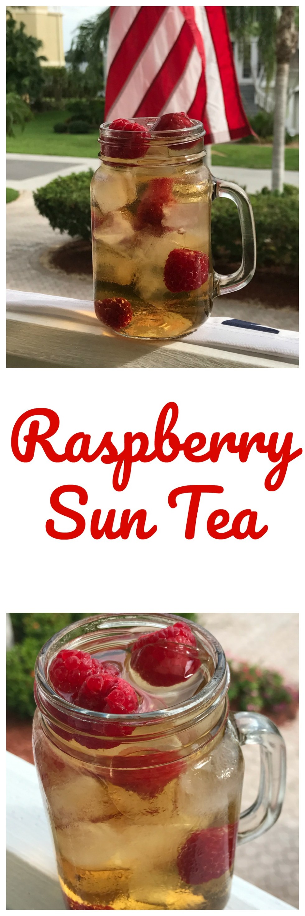 Cool off with a refreshing glass of raspberry sun tea.