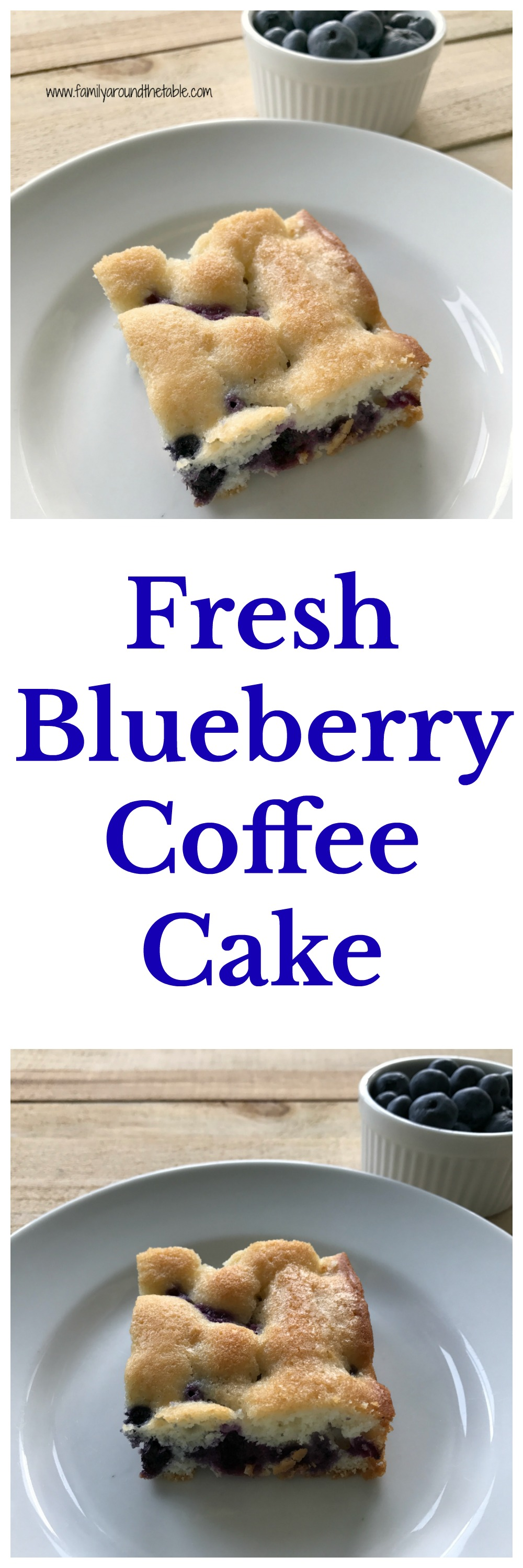 Start the day with a slice of fresh blueberry coffee cake. Perfect with your coffee or tea.