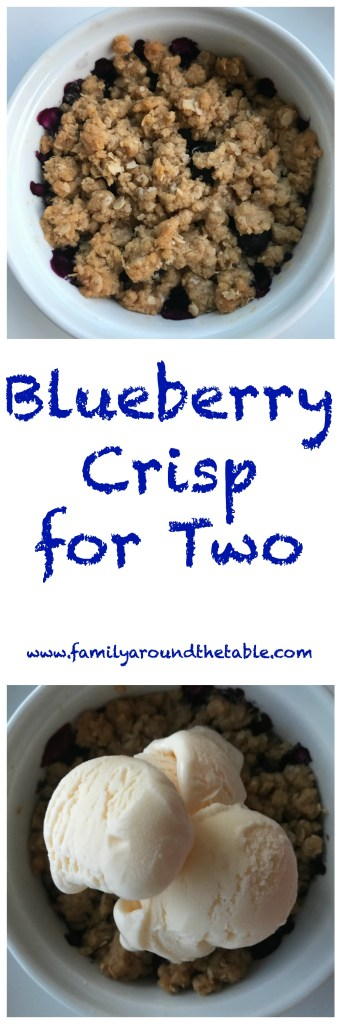 Blueberry Crisp for Two is a delicious date night at home dessert.