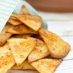 Healthy Nacho Cheese Baked Tortilla Chips are a great choice to accompany a sandwich.