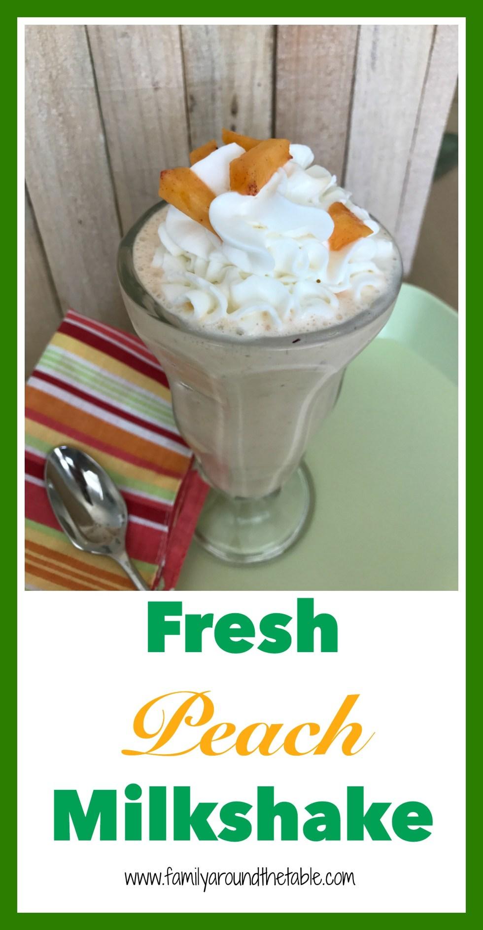 A fresh peach milkshake is a yummy after dinner treat.