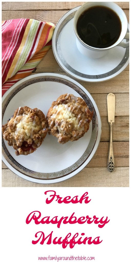Raspberry streusel muffins use fresh raspberries. Start your day with one.