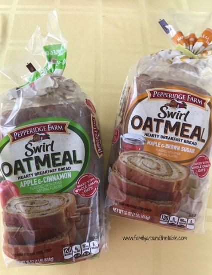 Pepperidge Farm Swirl Oatmeal Bread in Apple & Cinnamon and Maple & Brown Sugar