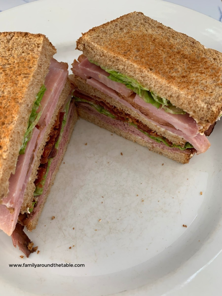Club sandwich on wheat toast.
