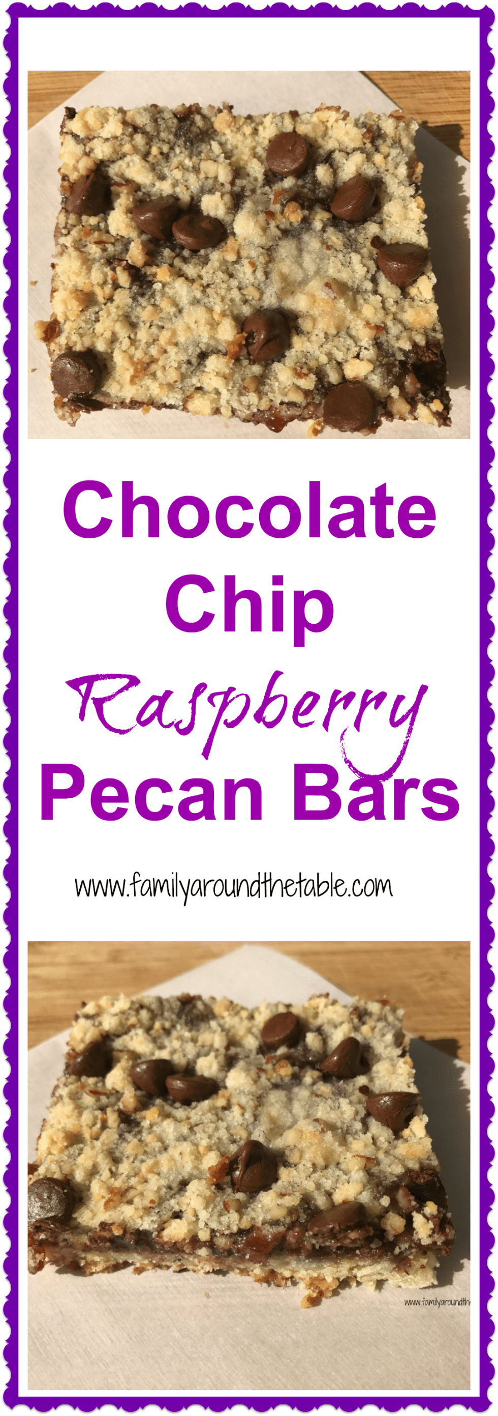 Chocolate Chip Raspberry Pecan Bars are a sweet treat for after school or dessert.