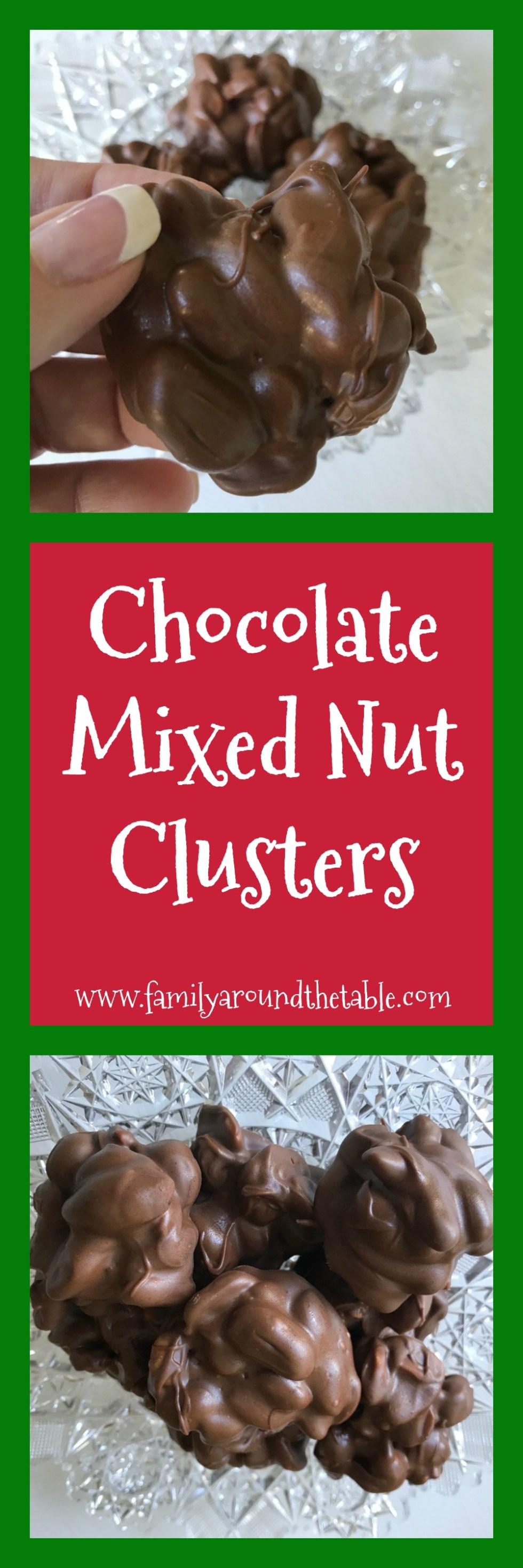 Chocolate mixed nut clusters make a delicious holiday hostess gift.