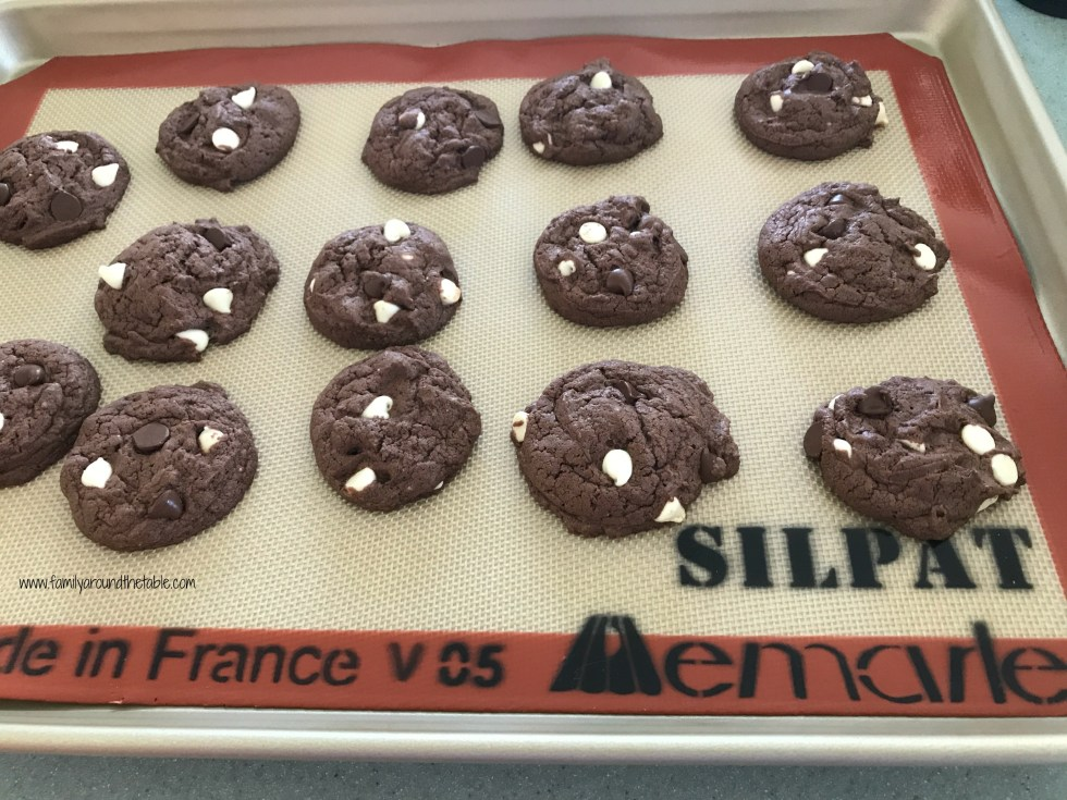 Alex's double chocolate white chip cookies start with a mix.