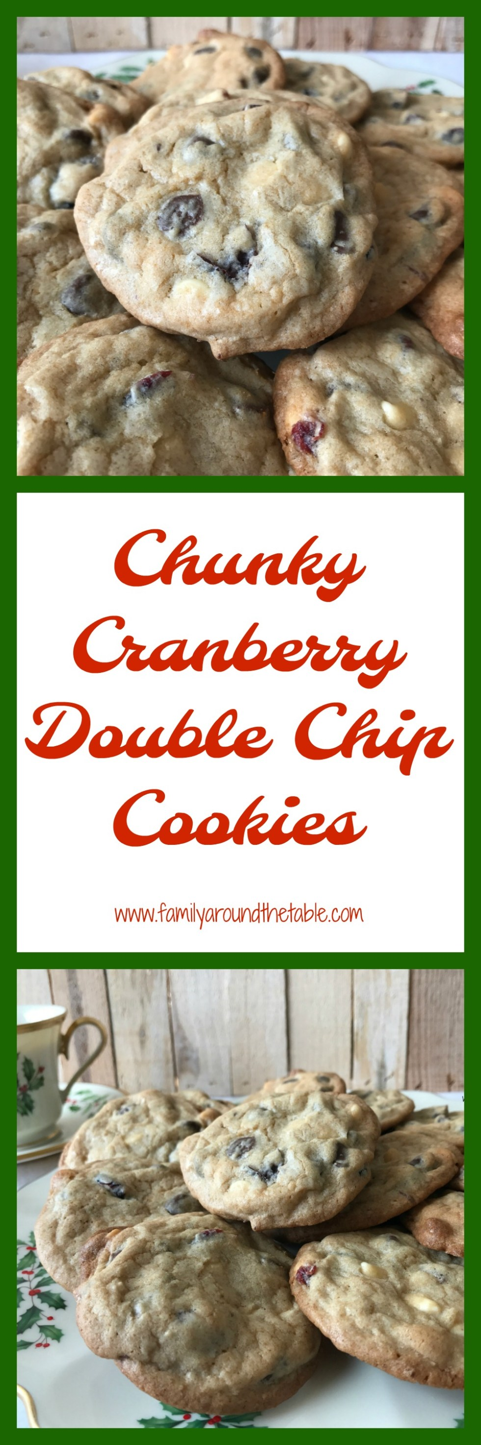 Chunky cranberry double chip cookies are delicious for a holiday dessert table. #ChristmasCookies