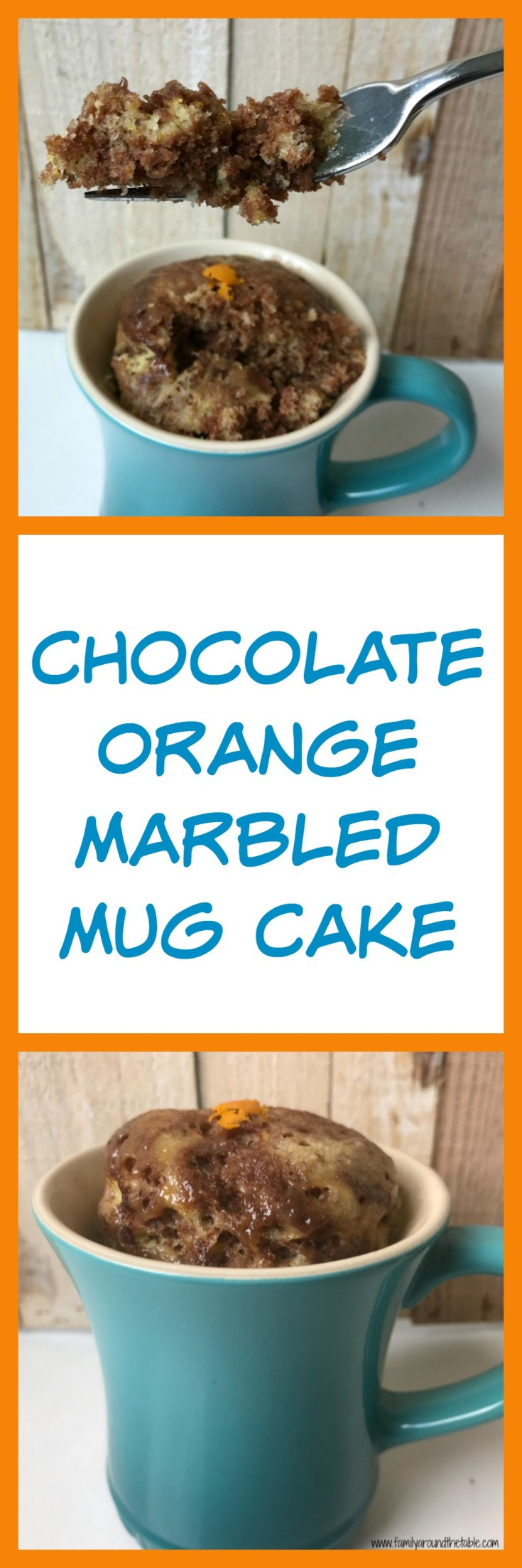 Chocolate orange marbled mug cake makes a delicious dessert when you just need a few servings.