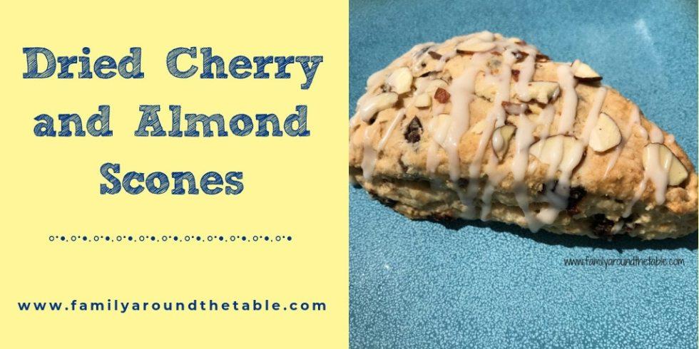 Dried Cherry & Almond Scones Twitter image.