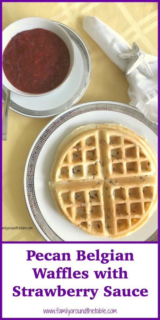Pecan waffles with strawberry sauce make a delightful brunch entree.