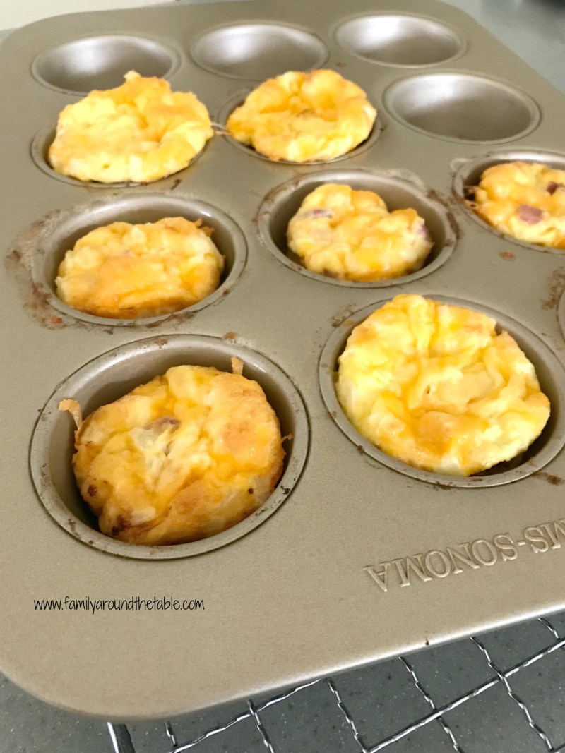 Mini ham, cheese and onion fritattas area a great way to use up leftover ham.