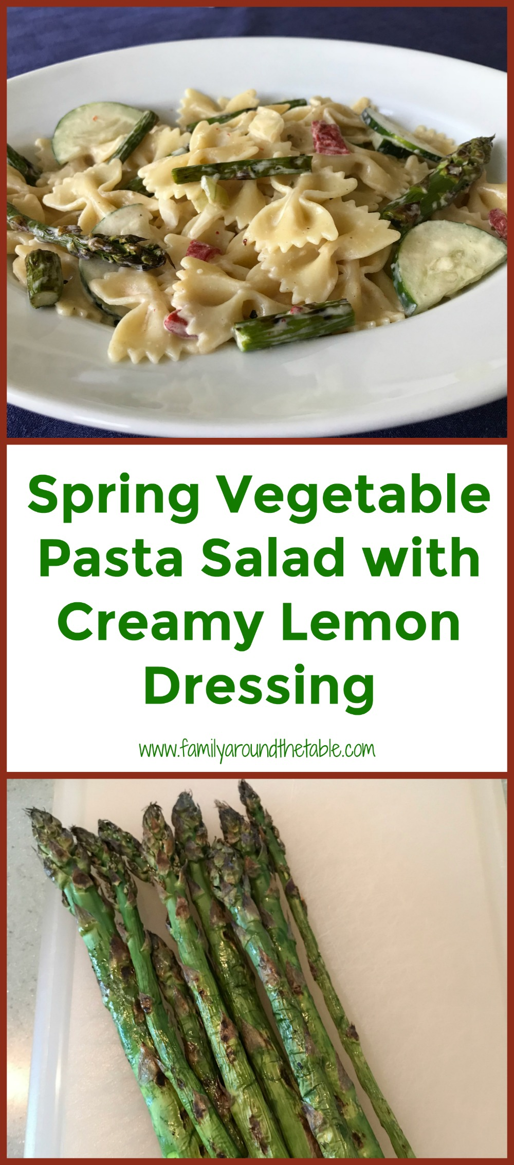 Make spring vegetable pasta salad with creamy lemon dressing for your next backyard gathering.