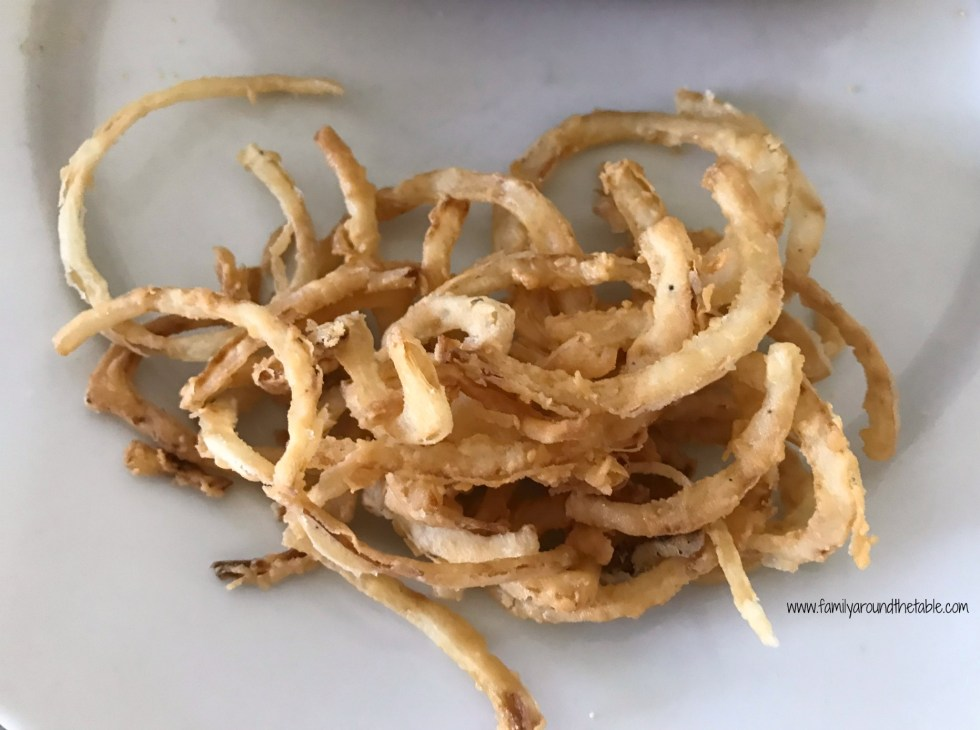 Fried onion strings just like you find in restaurants.