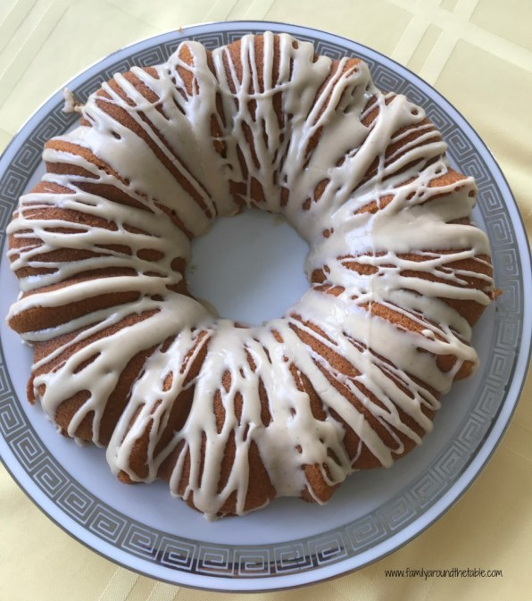 Maple Bundt cake with cinnamon maple glaze.