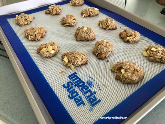 Butterscotch Apple Oat Cookies fresh from the oven. Your house will smell like fall!
