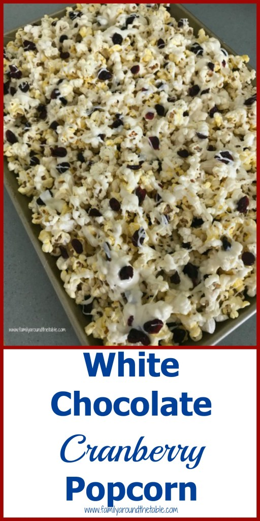 White chocolate cranberry popcorn makes a great holiday hostess gift. #cranberryweek