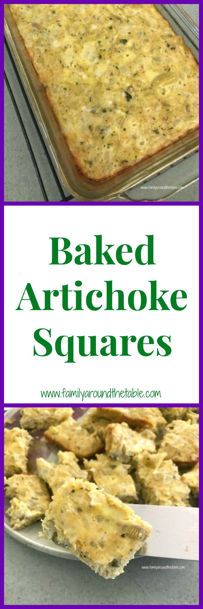 Game day or party these baked artichoke squares are a great appetizer.