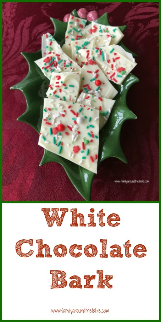2 ingredients make this white chocolate bark. A perfect party favor for a holiday party. #ChristmasSweetsWeek