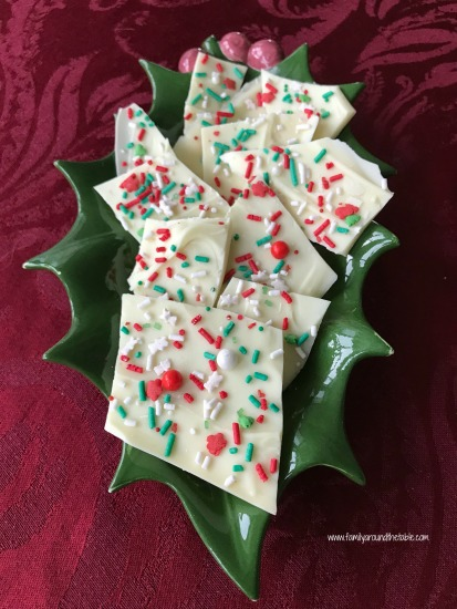 White chocolate bark makes a great gift for neighbors or a buffet table treat.