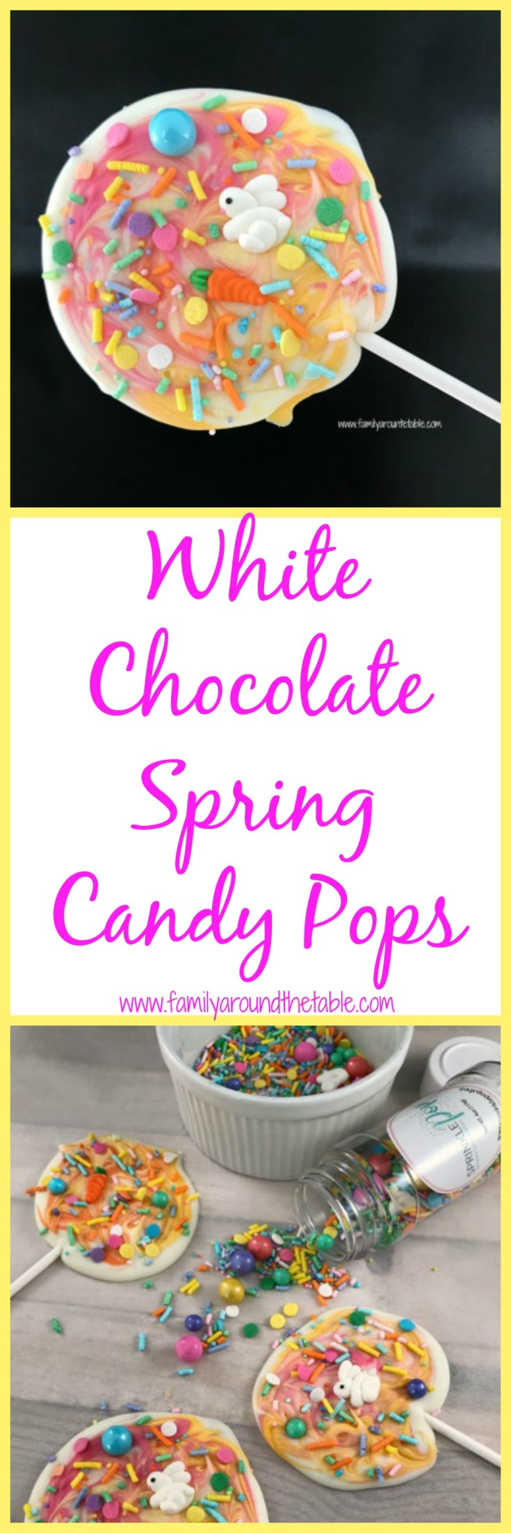 Spring is in the air and these white chocolate spring candy pops are a great way to celebrate. Easy to make and fun for the kids to help.