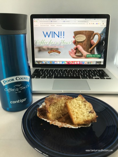 Coffee cake muffins and a Door County Coffee travel mug make for a perfect mid-morning snack at work.