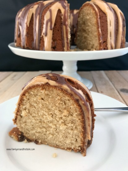 Peanut butter and chocolate are a favorite flavor combination that come together in this delicious pound cake.