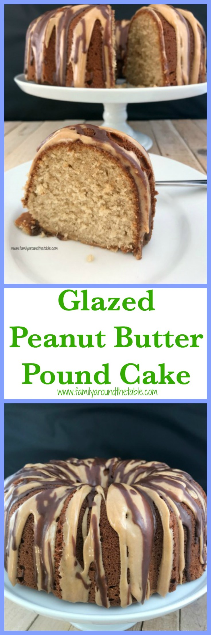 Peanut butter and chocolate is a winning combination in this delicious glazed peanut butter pound cake.