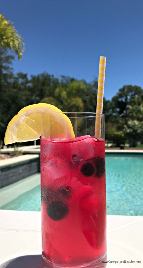 Made with fresh ingredients, blueberry lemonade is a great way to cool off on a hot day. Perfect for poolside sipping.