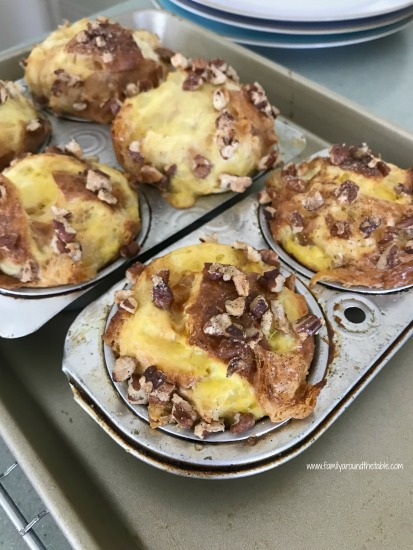 Croissant French toast cups hot from the oven.
