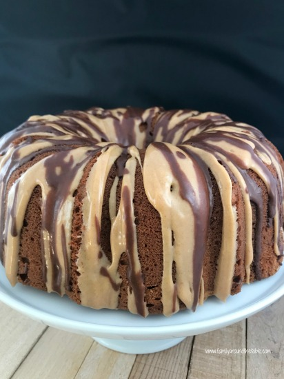 Glazed peanut butter pound cake is perfect for a dessert buffet table.