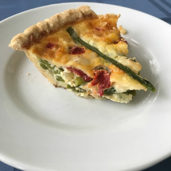 Red Pepper, Asparagus and Cheddar Quiche