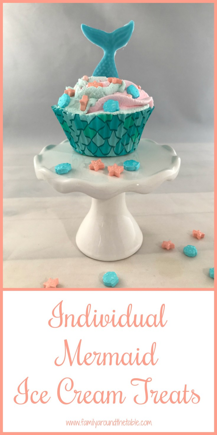 Individual mermaid ice cream treats make a quick and easy dessert for a sleepover or summer party. #SummerDessertWeek