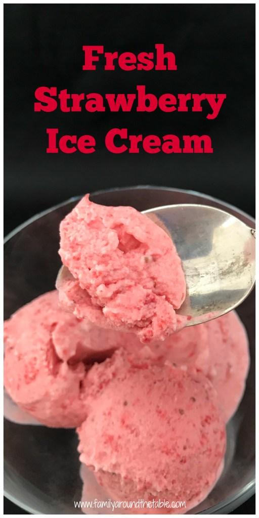 Fresh strawberry ice cream is bursting with berry flavor. #SummerDessertWeek