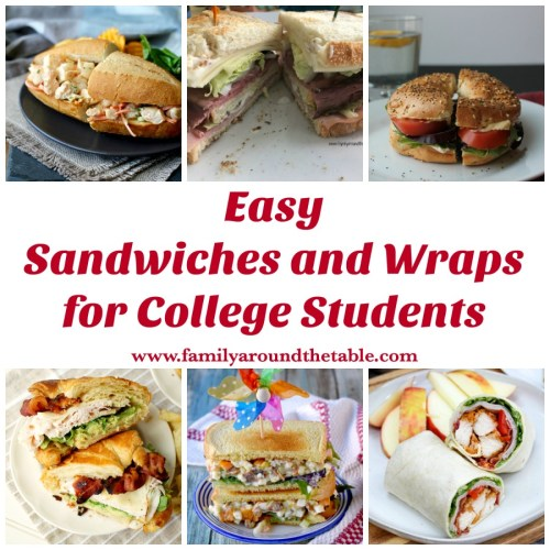 These easy sandwiches and wraps for college students are great choices for those who either live off campus or access to cooking facilities.