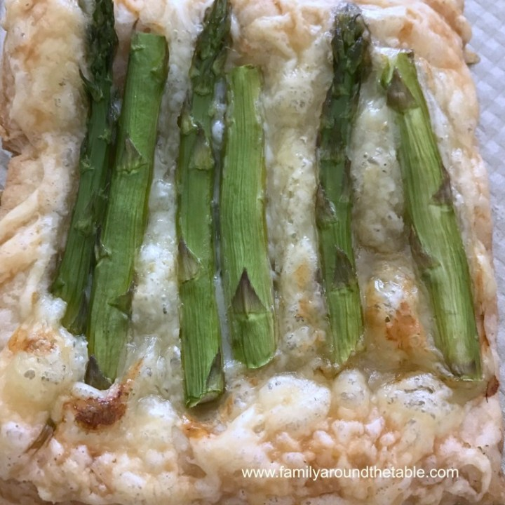 Asparagus spears on puff pastry.