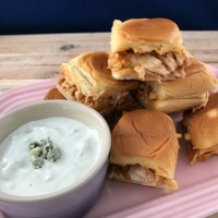 Easy Buffalo Chicken Sliders with Homemade Blue Cheese Dressing