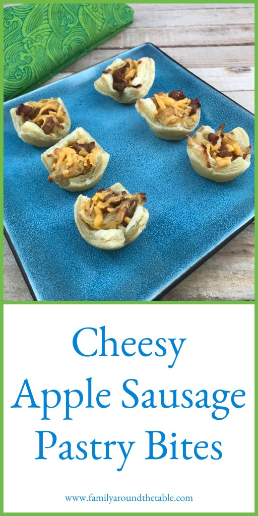 Cheesy apple sausage pastry bites are perfect to serve at a cocktail party.