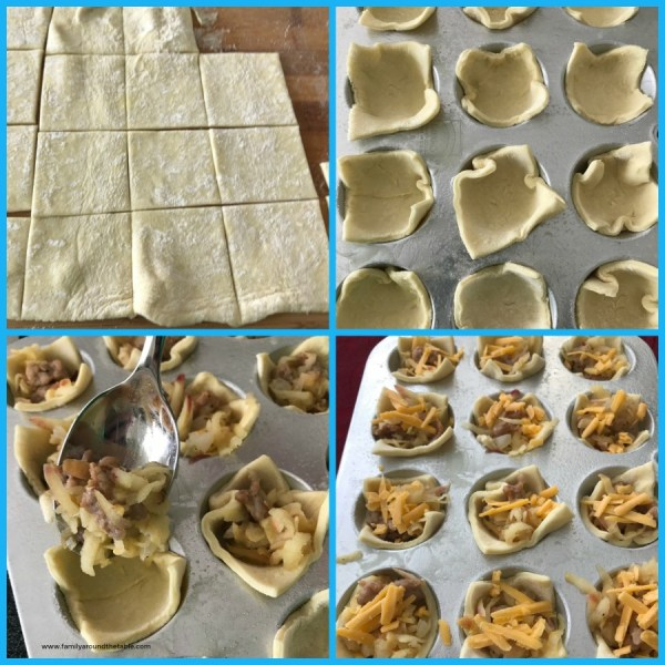 Process shots of Cheesy apple sausage pastry bites.